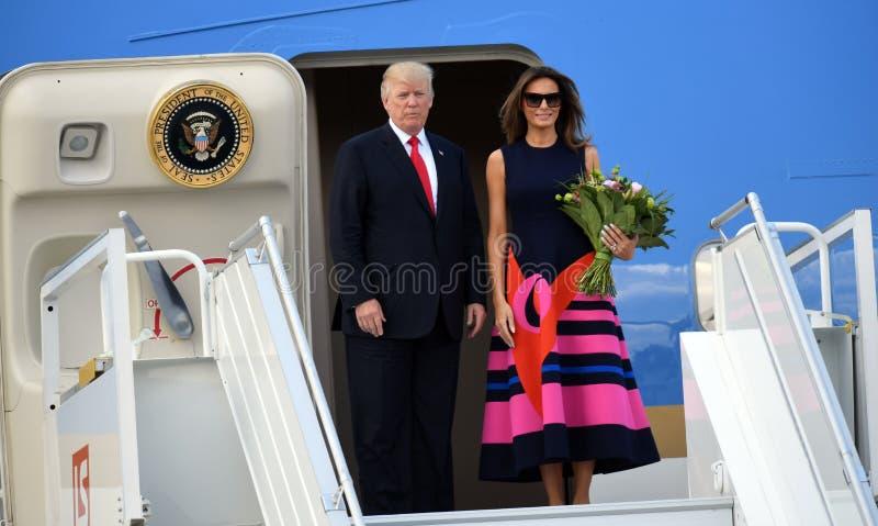 Donald Trump and Melania Trump. WARSAW, POLAND - JUNE 6, 2017: Donald Trump, Melania Trump with visit in Poland o/p Donald Trump, Melania Trump royalty free stock photo