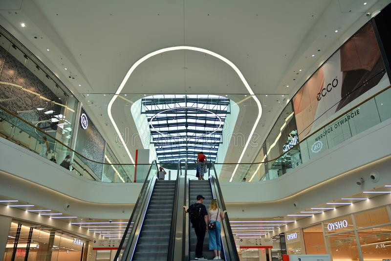 Interior of modern shopping center Galeria Mlociny. Warsaw, Poland. 18 June 2019. Interior of modern shopping center Galeria Mlociny stock image