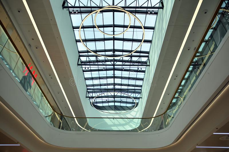 Interior of modern shopping center Galeria Mlociny. Warsaw, Poland. 18 June 2019. Interior of modern shopping center Galeria Mlociny stock photos