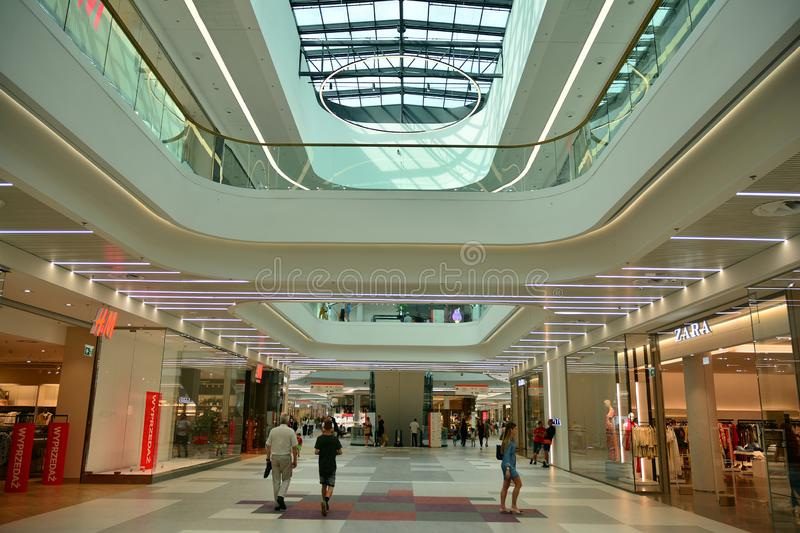 Interior of modern shopping center Galeria Mlociny. Warsaw, Poland. 18 June 2019. Interior of modern shopping center Galeria Mlociny royalty free stock images