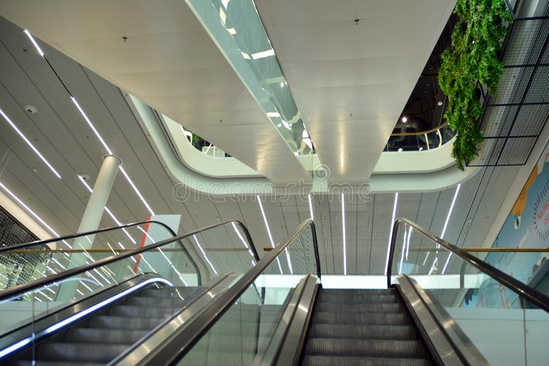 Interior of modern shopping center Galeria Mlociny. Warsaw, Poland. 18 June 2019. Interior of modern shopping center Galeria Mlociny stock photography