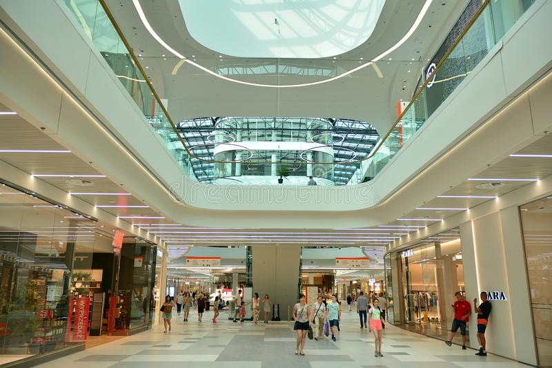 Interior of modern shopping center Galeria Mlociny. stock photo