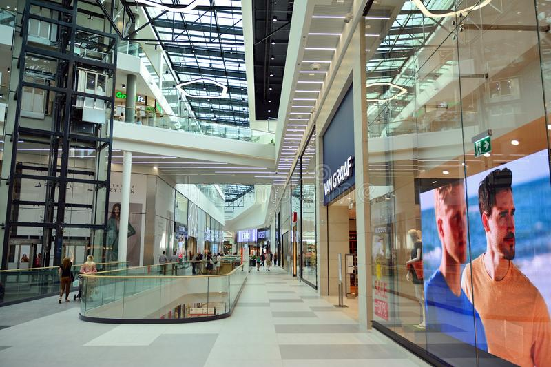 Interior of modern shopping center Galeria Mlociny. stock photography