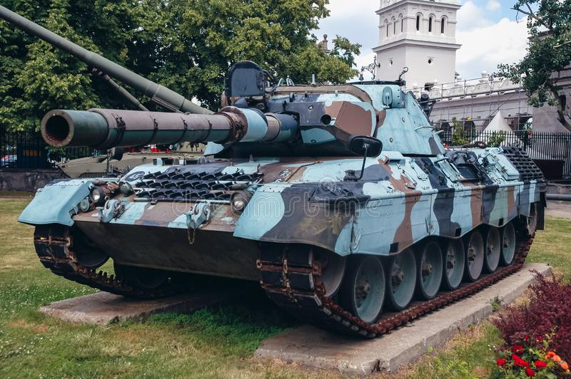 Military exhibition in Warsaw. Warsaw, Poland - June 19, 2006: Leopard 1A4 German tank at open air exhibition in front of Museum of the Polish Army in Warsaw stock image