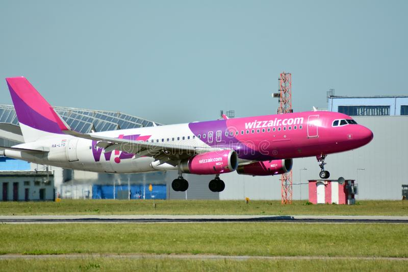 Plane HA-LYD - Airbus A320-232 - Wizz Air just before landing at the Chopin airport. Warsaw, Poland. 8 June 2018. Plane HA-LYD - Airbus A320-232 - Wizz Air just stock image