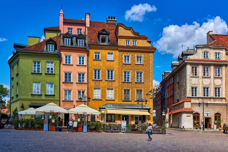 WARSAW, POLAND JUNE 8 2017: Warsaw`s Old Town Plac Zamkowy with colorful restored buildings as seen in June 8, 2017. WARSAW, POLAND JUNE 8 2017: Warsaw`s Old stock images