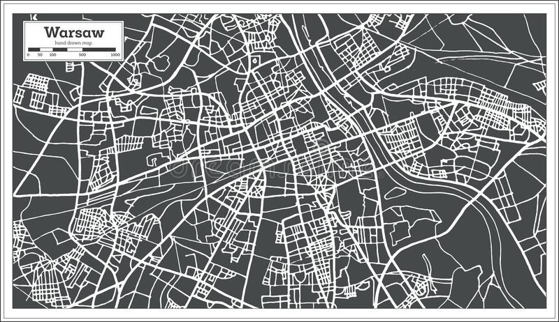 Warsaw Poland Map in Retro Style. stock illustration