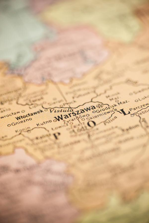 Warsaw Poland on Map. Warsaw, Poland is the point of focus on a vintage map stock image