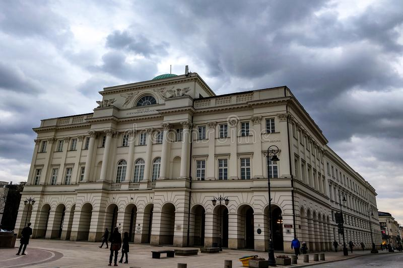 Warsaw, Poland, March 8, 2019: Facade of Staszic Palace Palac Staszica neoclassical building by Antonio Corazzi and Marian stock photography