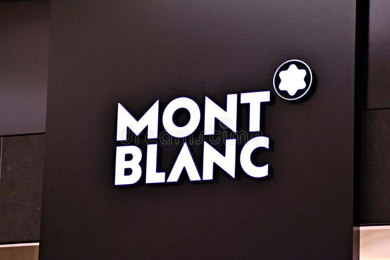 Sign Mont Blanc. Company signboard Mont Blanc. royalty free stock photos