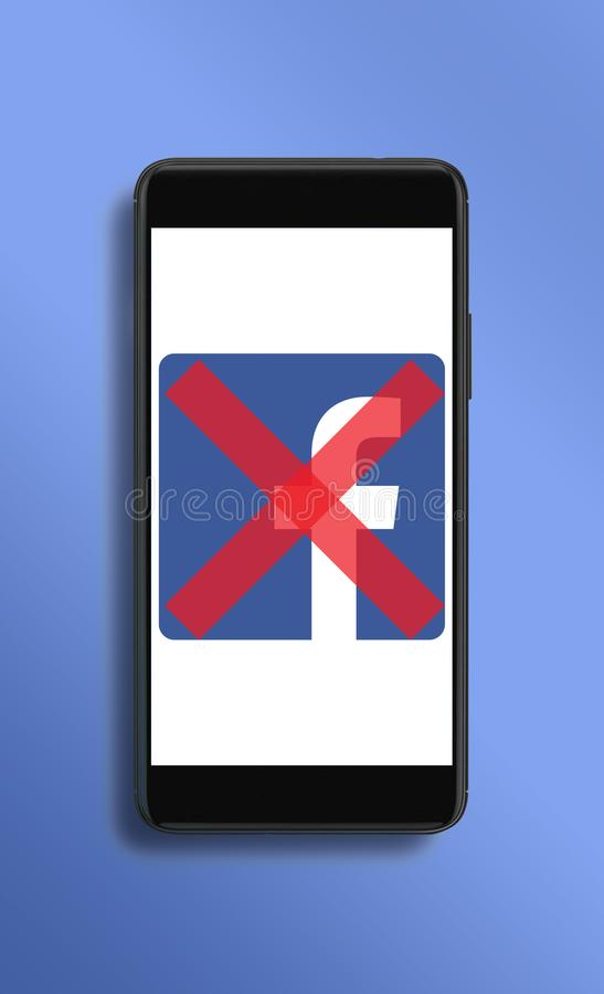 Social campaign to delete Facebook accounts. Warsaw,Poland- March 2018: Social campaign deleting Facebook accounts after breach of trust by social media app