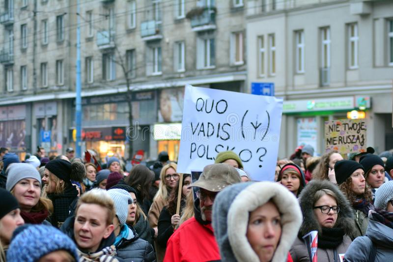 Thousands of people protests in Warsaw stock photo