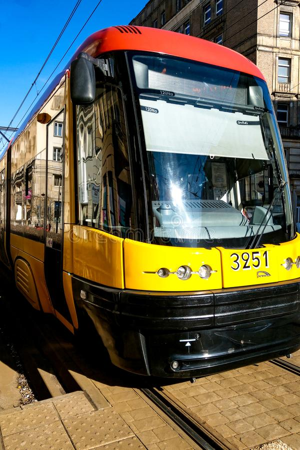 Warsaw, Poland, March 7, 2019: Trams in Warsaw tram system serving the city population. With 27 lines forming a part of the city` royalty free stock images