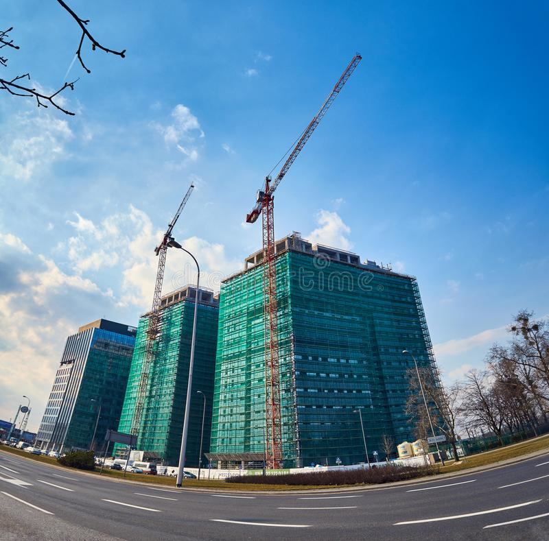 Warsaw, Poland - March 05, 2017: West Station PKP Warszawa Zachodnia is under construction. Warsaw property within the district of Ochota Juruzalimskie alley stock image