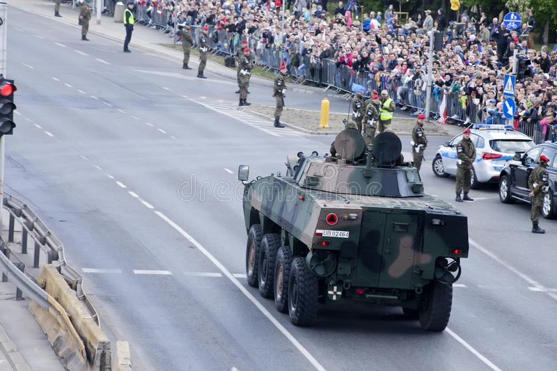 Military vehicles on army parade on May 3, 2019 in Warsaw, Poland. WARSAW, POLAND, May 3: Military vehicles on army parade on May 3, 2019 in Warsaw, Poland royalty free stock images