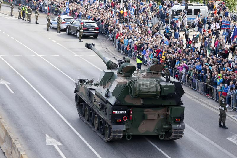 Military vehicles on army parade on May 3, 2019 in Warsaw, Poland. WARSAW, POLAND, May 3: Military vehicles on army parade on May 3, 2019 in Warsaw, Poland stock image
