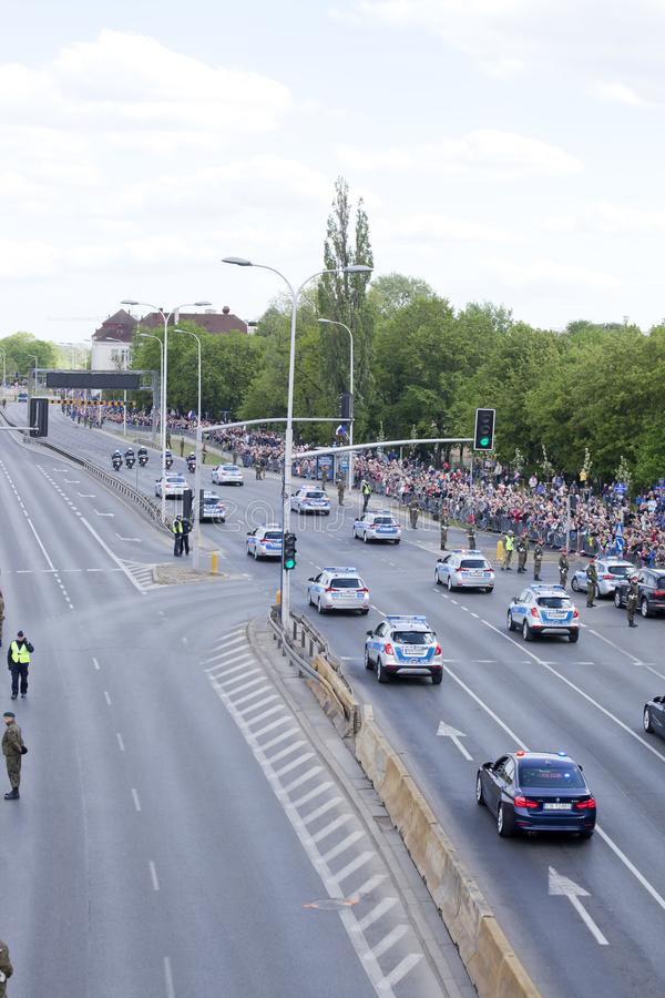 Military vehicles on army parade on May 3, 2019 in Warsaw, Poland. WARSAW, POLAND, May 3: Military vehicles on army parade on May 3, 2019 in Warsaw, Poland royalty free stock photography