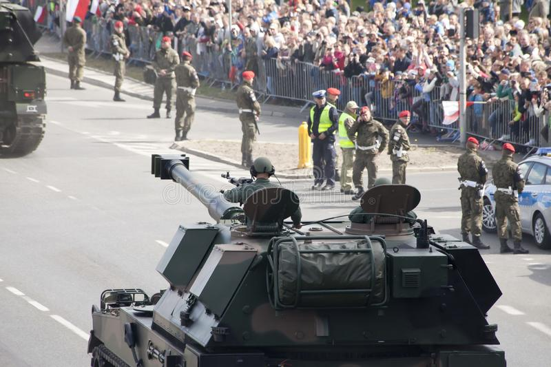 Military vehicles on army parade on May 3, 2019 in Warsaw, Poland. WARSAW, POLAND, May 3: Military vehicles on army parade on May 3, 2019 in Warsaw, Poland royalty free stock image