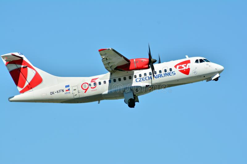 Passenger airplane OK-KFN - ATR 42-500 - Czech Airlines is flying from the runway of Warsaw Chopin Airport. Warsaw, Poland. 28 May 2018. Passenger airplane OK stock image