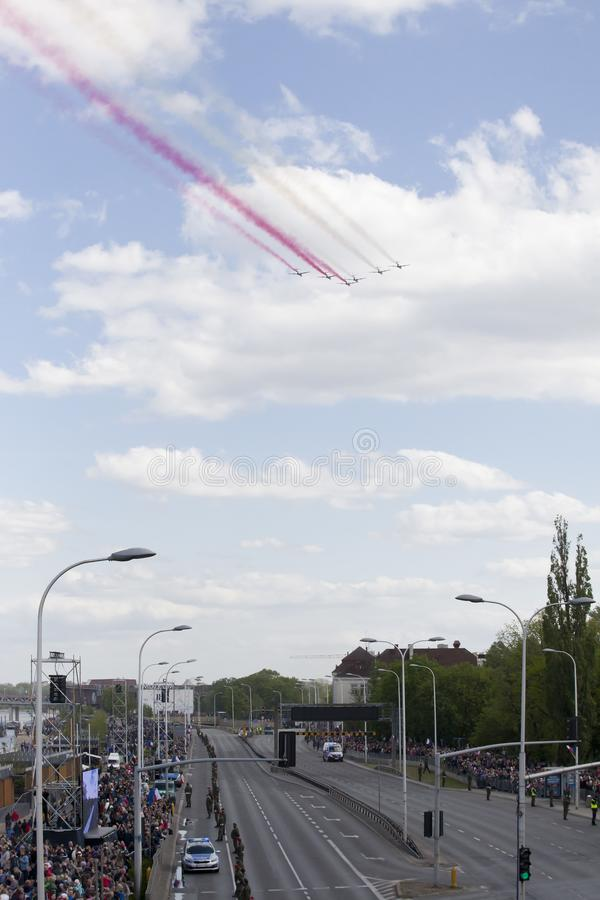 Planes on army parade on May 3, 2019 in Warsaw, Poland. WARSAW, POLAND, May 3: Planes on army parade on May 3, 2019 in Warsaw, Poland royalty free stock images