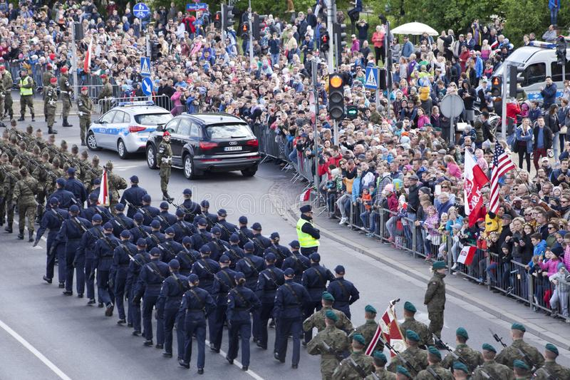 Polish soldiers marching on army parade on May 3, 2019 in Warsaw, Poland. WARSAW, POLAND, May 3: Polish soldiers marching on army parade on May 3, 2019 in Warsaw stock photo