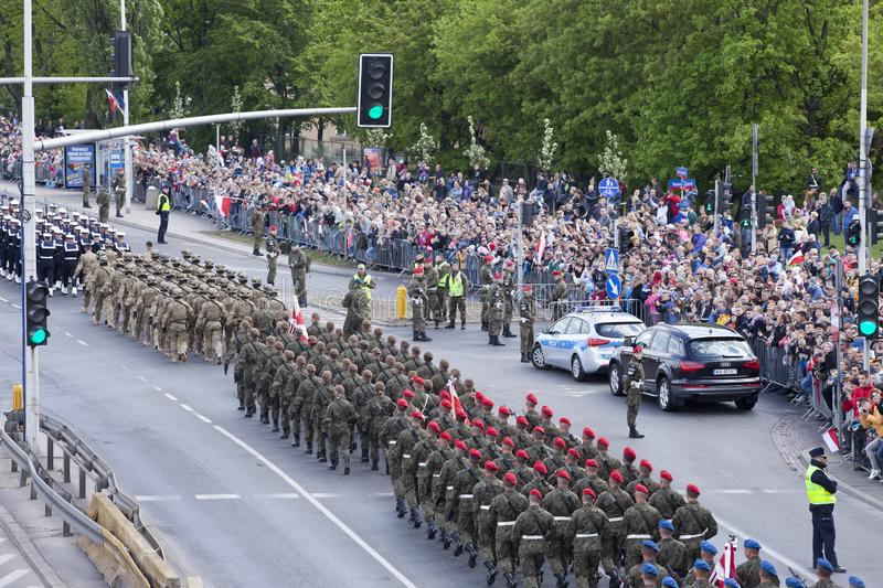 Polish soldiers marching on army parade on May 3, 2019 in Warsaw, Poland. WARSAW, POLAND, May 3: Polish soldiers marching on army parade on May 3, 2019 in Warsaw royalty free stock photography
