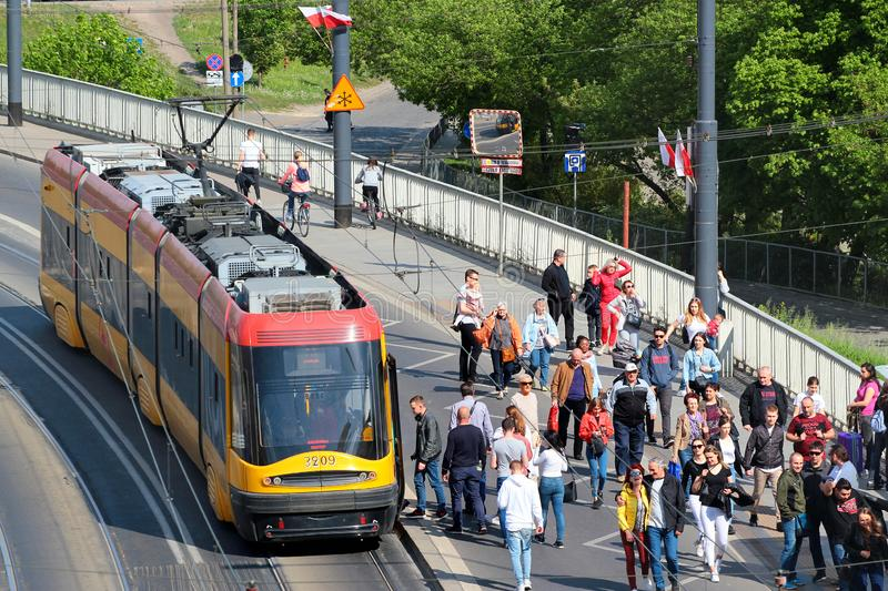 Tram in Polish capital Warsaw is the popular mode of public transportation. Warsaw, Poland - May 1, 2019: Tram in Polish capital Warsaw is the popular mode of stock image