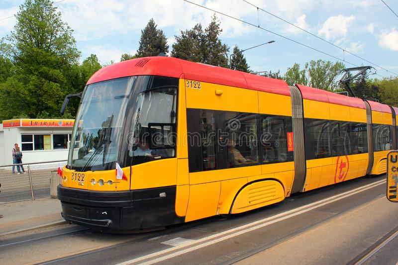 Tram in Polish capital Warsaw is the popular mode of public transportation. Warsaw, Poland - May 1, 2019: Tram in Polish capital Warsaw is the popular mode of stock photography
