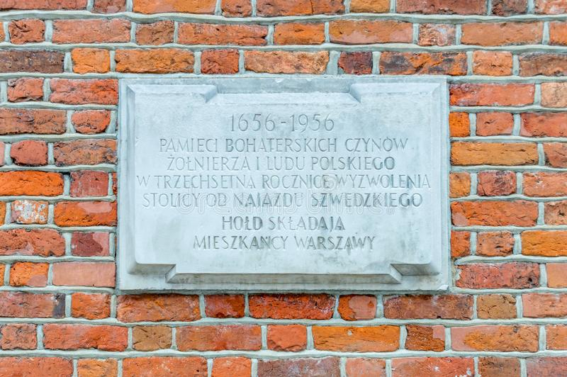 Memorial plaque in three hundredth anniversary of the liberation of the capital from the Swedish invasion royalty free stock photo