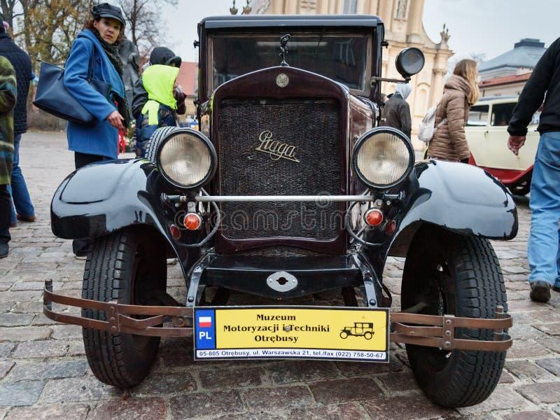 Vintage car Praga Oswiecim on the street in Independence Day of Poland. Warsaw. Poland royalty free stock photo