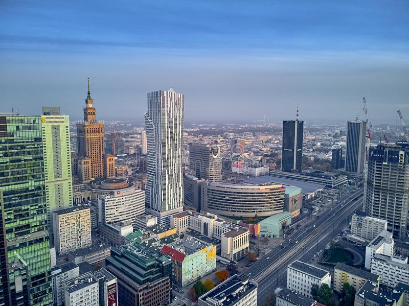 WARSAW, POLAND - OCTOBER 19, 2019: Beautiful panoramic aerial drone view to panorama cityscape of Warsaw modern City, PKiN and royalty free stock photo
