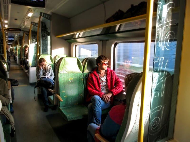 Passengers ride the Warsaw-Modlin train stock photo