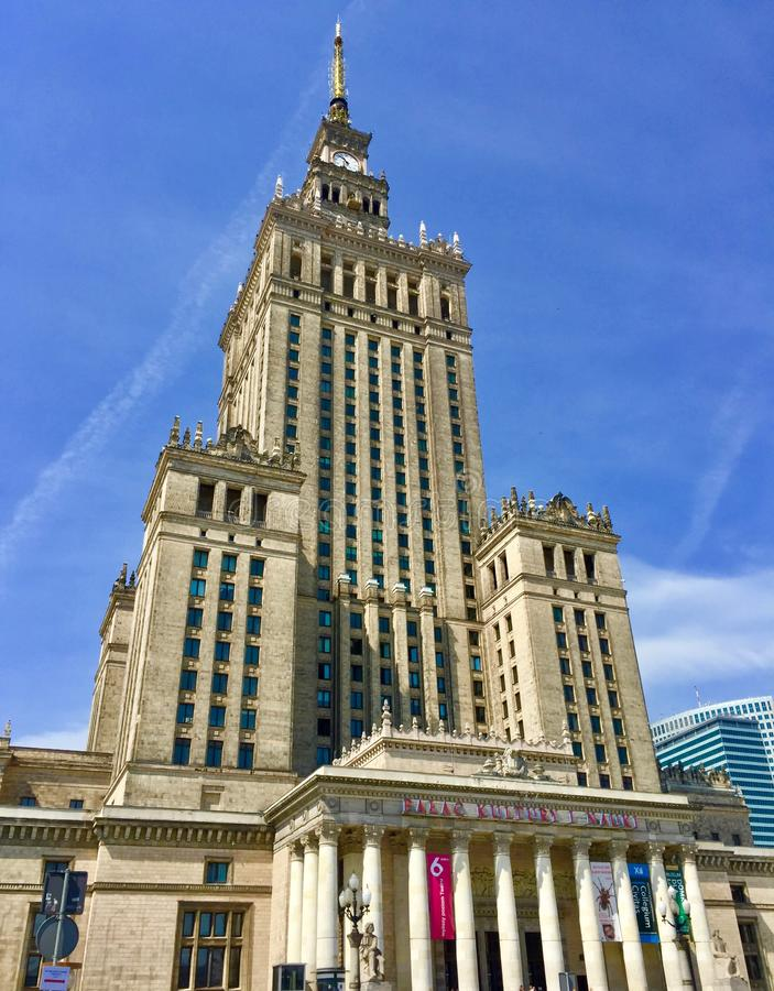 Warsaw, Poland, Palace of Culture and Science. Constructed in 1955, it houses various public and cultural institutions such as cinemas, theaters, libraries royalty free stock image