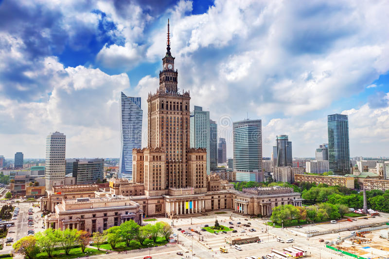 Warsaw, Poland. Palace of Culture and Science, downtown. royalty free stock photography