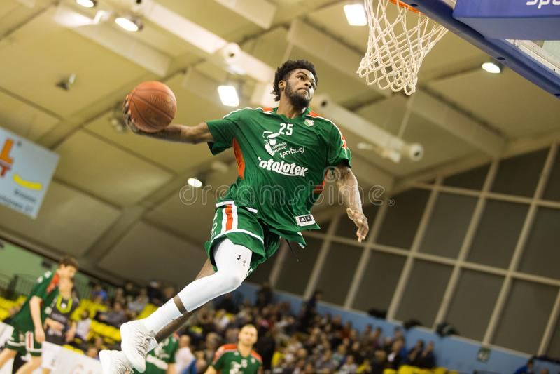 30.12.2017, Warsaw, Poland, Polish Basketball Top League Match: Miasto Szkla Krosno - Legia Warszawa royalty free stock image