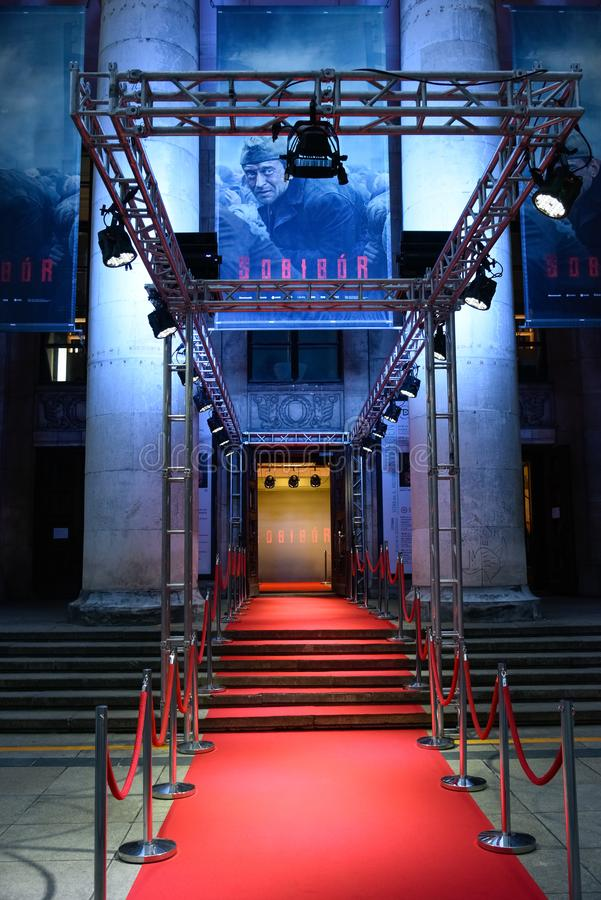 Warsaw / Poland - 04.23.2018: Red carpet entrance to the gala in Drama Theatre. World film premiere of `Sobibor`. World film premiere in Warsaw of `Sobibor` royalty free stock photography