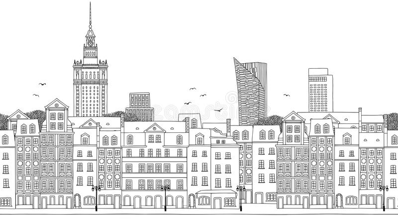 Seamless banner of Warsaw, Poland. Warsaw, Poland - Seamless banner of the city's skyline, hand drawn black and white illustration vector illustration