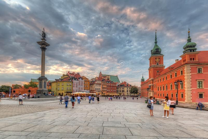 Warsaw, Poland - September 5, 2018: People on the Royal Castle square in Warsaw city at sunset, Poland. Warsaw is the capital and royalty free stock images
