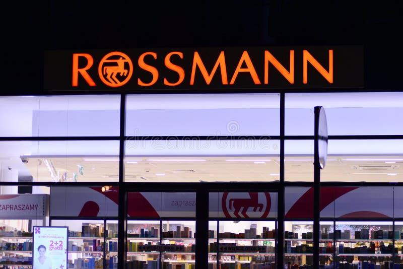 Sign Rossmann. Company signboard Rossmann. stock photo