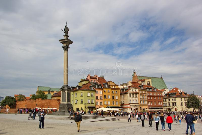 Warsaw, Poland - september 16, 2017: sunny day on the main square in Warsaw, view on colorful renewed buildings and tourists stock photography