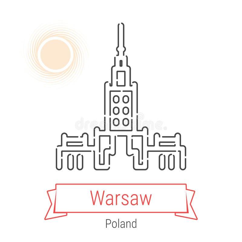 Warsaw, Poland Vector Line Icon stock illustration
