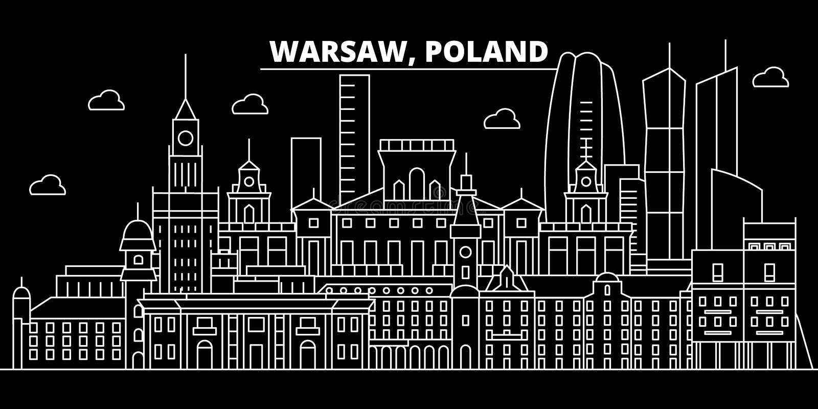 Warsaw silhouette skyline. Poland - Warsaw vector city, polish linear architecture, buildings. Warsaw travel stock illustration