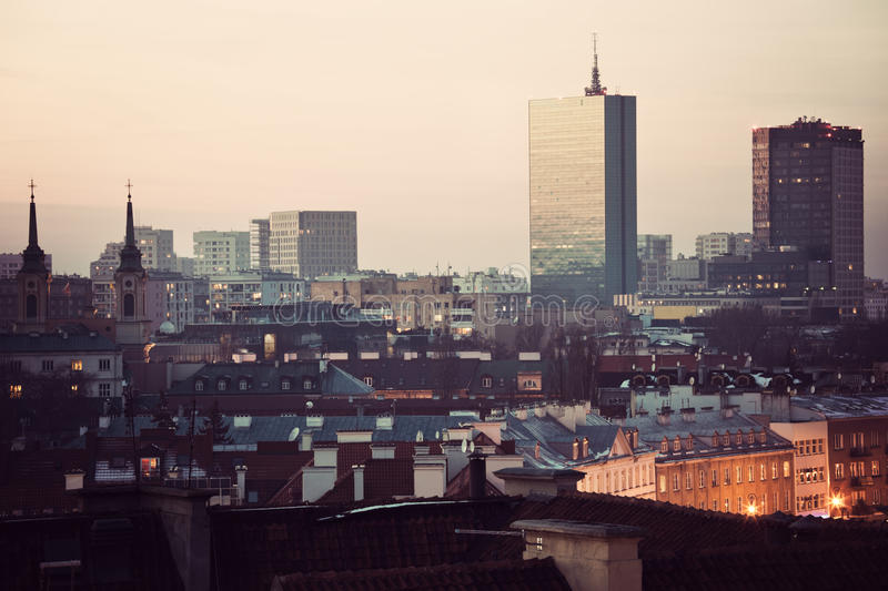 Download Warsaw skyline stock photo. Image of sunset, winter, skyline - 24597652