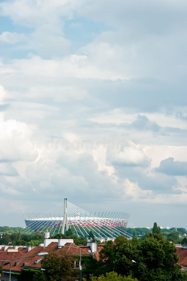 Warsaw Stadium. Distant view of the new National Stadium in Warsaw, Poland with cloudscape. Host of 2012 football matches royalty free stock photography