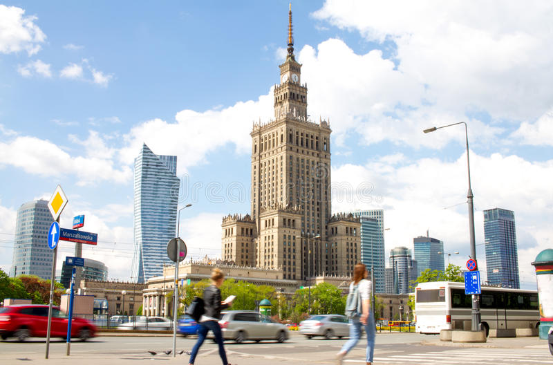 Warsaw street with Palace of Culture and Science royalty free stock images