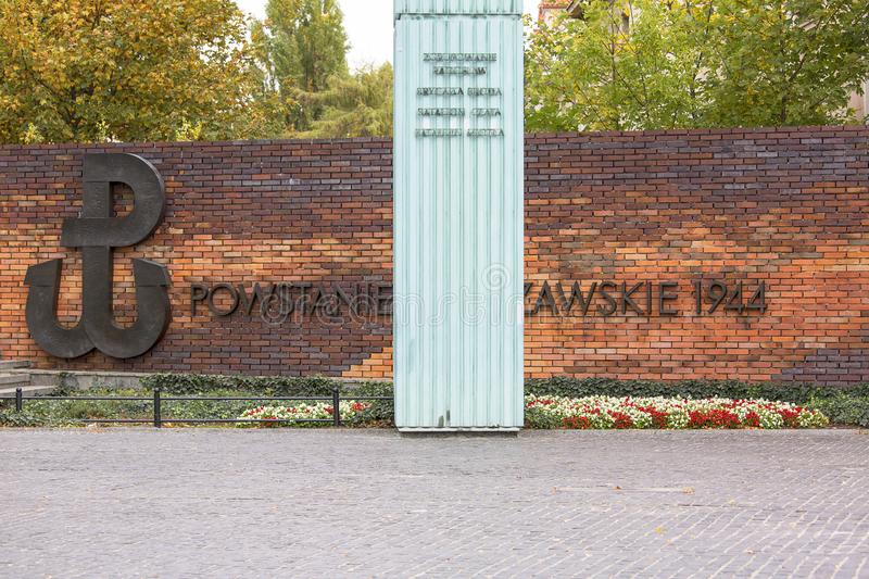 Warsaw Uprising Monument , brick wall with inscription. WARSAW, POLAND -OCTOBER 17, 2019 : Warsaw Uprising Monument in front of Supreme Court of Poland, brick royalty free stock images