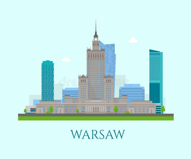 Warschau-Geschäftszentrum lizenzfreie abbildung