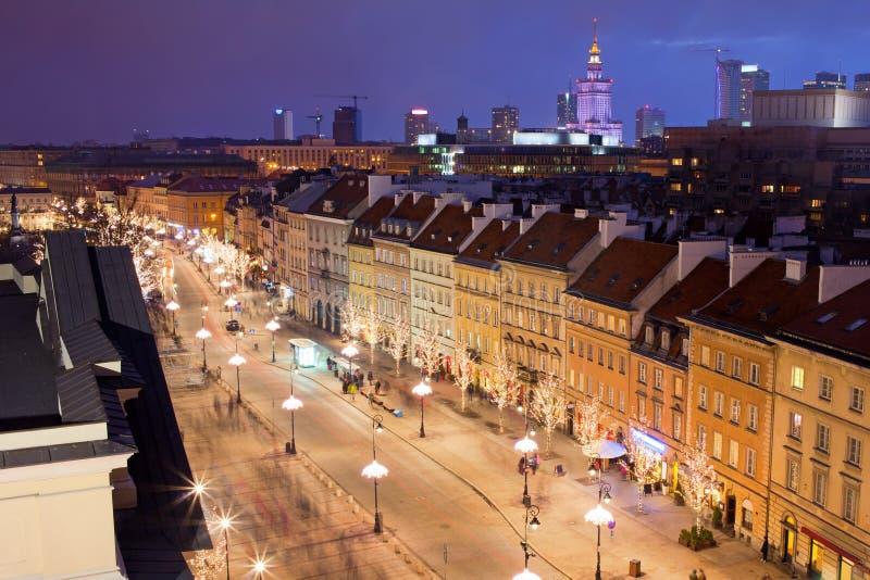 Warschau nachts lizenzfreies stockbild