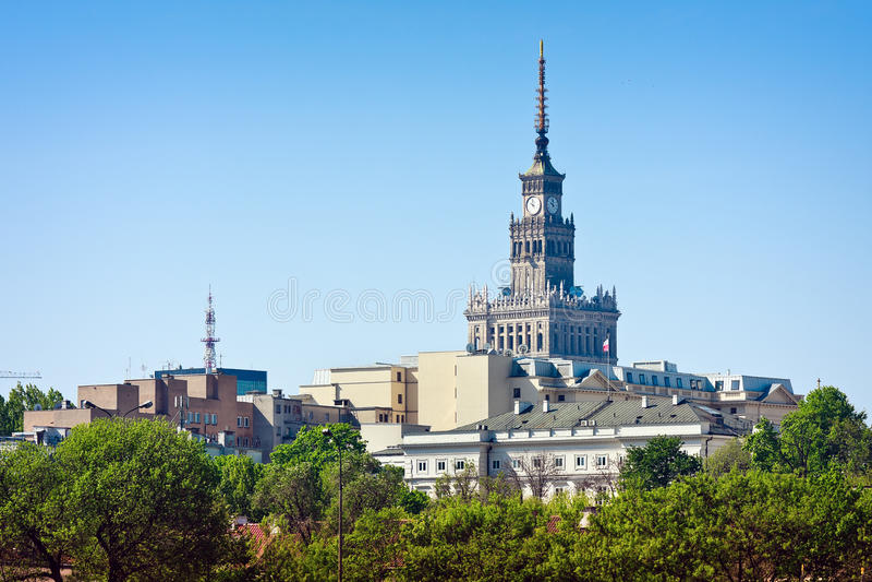 Warschau, Palast der Kultur stockbilder