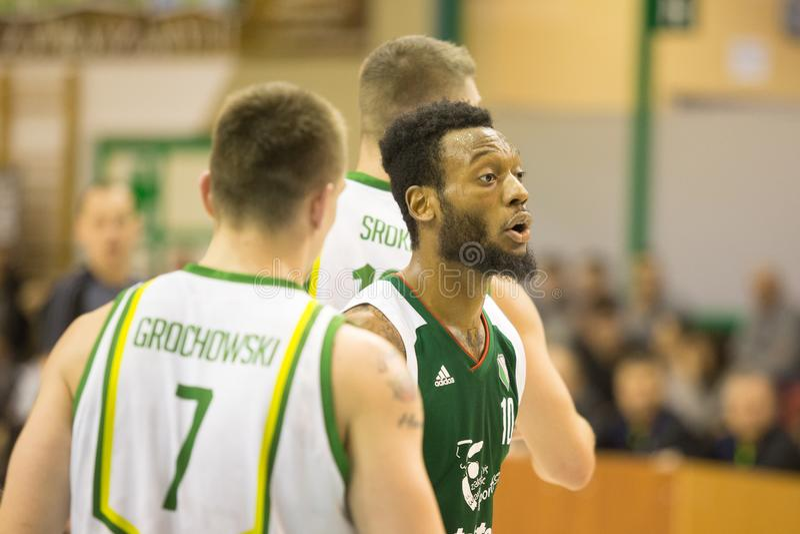 30 12 2017, Warschau, Polen, polnisches Basketball-Spitzen-Ligaspiel: Miasto Szkla Krosno - Legia Warschau stockbild